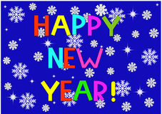 just the words happy new year and snowflakes Royalty Free Stock Photo