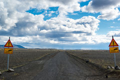 Just 4x4 road sign, just four wheels drive road, Northern Iceland Stock Photography