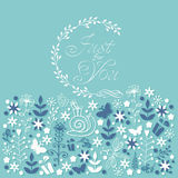 Just for you floral doodle card. Stock Photography