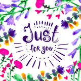 Just for you -  hand drawn lettering Stock Photography