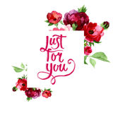 Just for you poster in watercolor Royalty Free Stock Photos