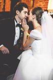 Juste le ménage marié se penche entre eux avec leur tenderl de visages Images stock
