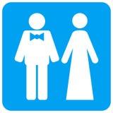 Juste les personnes mariées ont arrondi l'icône carrée de trame illustration stock