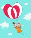 Juste ménages mariés sur montgolfier illustration de vecteur