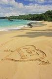 Juste marié écrit en sable Image stock