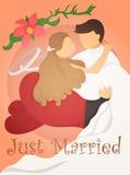 Juste marié épousant le design de carte d'invitation Photographie stock libre de droits