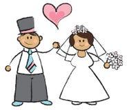 Juste MARIÉ ! - couples d'une chevelure foncés Photographie stock