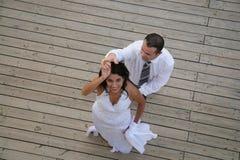 Juste marié - danse de mariée et de marié Images stock