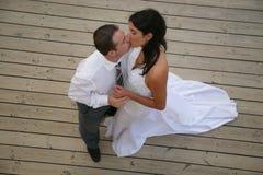 Juste marié - danse de mariée et de marié Images libres de droits