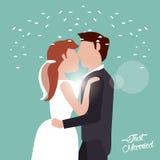 juste marié embrassant des confettis de couples illustration stock