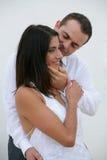 Juste marié - mariée dans des bras du marié Image libre de droits