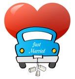 Juste marié - véhicule Photographie stock libre de droits