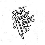 Juste petit pain avec lui copie de typographie de citation de cuisine Illustration de vintage de vecteur illustration libre de droits