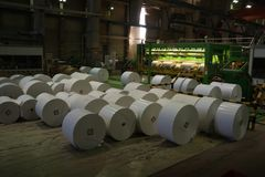 Juste rouleaux de papier énormes manufacturés Image libre de droits