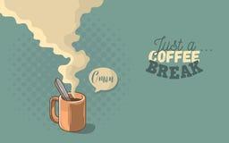 Juste une bande dessinée fraîche d'affiche de motivation de pause-café comique Photos stock