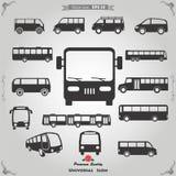 justera alla symboler för objekt för färger för bakgrundsbussfärg olika lätta isolerade set till genomskinliga skåpbil vektor Arkivfoto