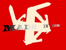 Justerad schweizareflagga Arkivfoto