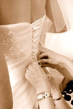 justering av brudklänningmodern till bröllop Arkivfoto