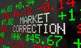 Justering för Ticker för nedgång för aktiekurser för marknadskorrigering stock illustrationer