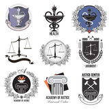 Justiça do grupo, a academia, os logotipos dos cuidados médicos, os emblemas e os elementos do projeto Imagens de Stock Royalty Free