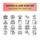 Justiça, lei e ícones perfeitos do pixel legal ajustados no esboço desligado ilustração royalty free