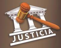 Justiça + martelo no espanhol Imagem de Stock Royalty Free
