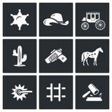 Justiça nos ícones ocidentais selvagens ajustados Ilustração do vetor Imagem de Stock Royalty Free