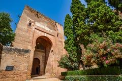 Justice普埃尔塔de la Justicia,对阿尔罕布拉宫复合体的最印象深刻的门门的看法  库存照片