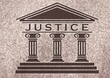 Justice. Icon over a marmol textured background stock illustration