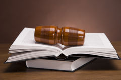 Justice!. Gavel of justice and gavel on desk with dark background Stock Images