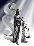 Justice. Blind Lady Justice holding scale and sword Royalty Free Stock Photography