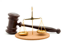 Justice. Gavel studio isolated over white Royalty Free Stock Photo