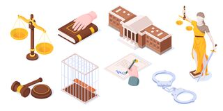 Free Justice And Law, Legal Court Isometric Icons Set Stock Photo - 188524410