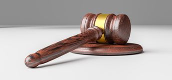Justice or auction gavel. 3D Illustration Stock Image