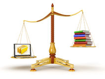 Justice Balance  with Books and Laptop (clipping path included) Stock Photo
