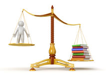 Justice Balance  with Books and man (clipping path included) Stock Photos