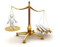 Justice Balance  with Cigarettes and man (clipping path included) Royalty Free Stock Photography