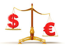 Justice Balance  with Currency (clipping path included) Stock Photo