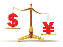 Justice Balance  with Currency (clipping path included) Stock Image