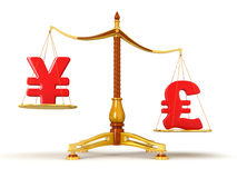 Justice Balance  with Currency (clipping path included) Royalty Free Stock Photography