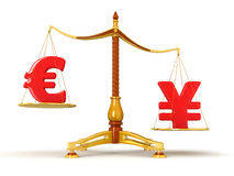 Justice Balance  with Currency (clipping path included) Stock Photos
