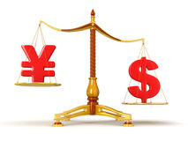 Justice Balance  with Currency (clipping path included) Royalty Free Stock Photos