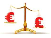 Justice Balance  with Currency (clipping path included) Stock Images
