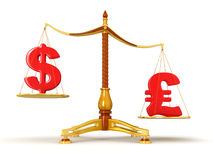 Justice Balance  with Currency (clipping path included) Royalty Free Stock Images