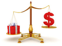 Justice Balance  with Dollar and gift (clipping path included) Royalty Free Stock Photography