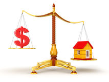 Justice Balance  with Dollar and house (clipping path included) Stock Photos