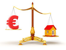 Justice Balance  with Euro and house (clipping path included) Royalty Free Stock Image