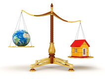 Justice Balance  with Globe and house (clipping path included) Royalty Free Stock Image