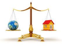 Justice Balance  with Globe and house (clipping path included) Royalty Free Stock Images