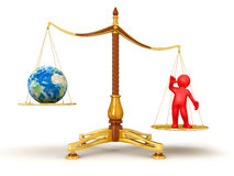 Justice Balance  with Globe and man (clipping path included) Royalty Free Stock Photos